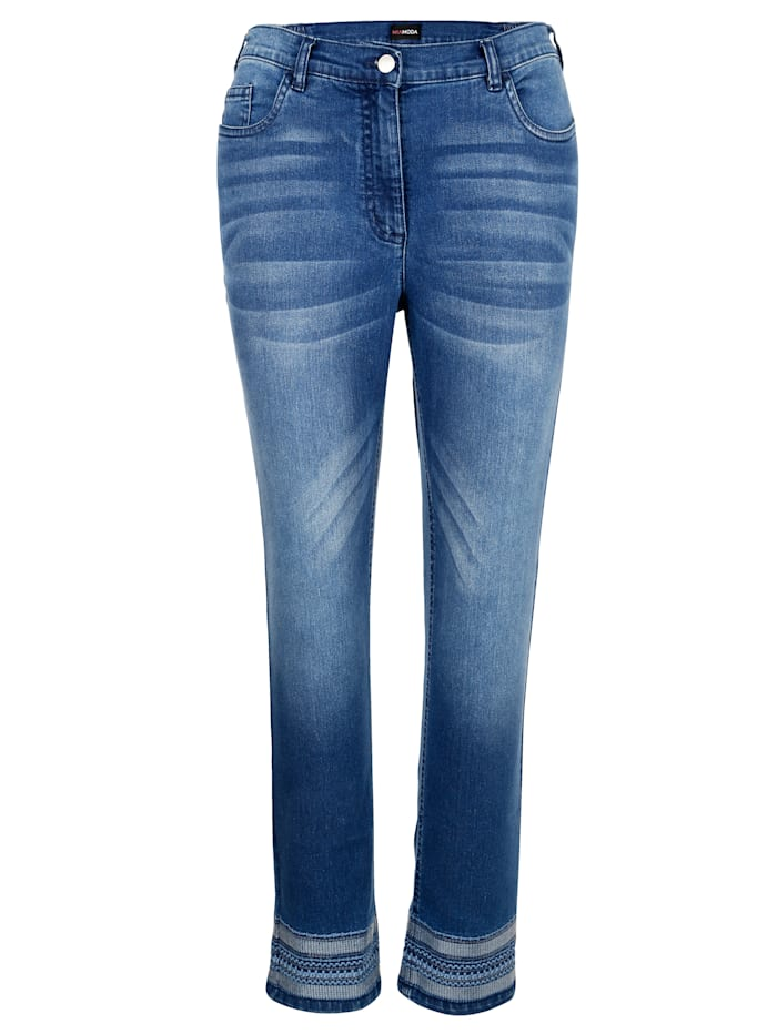 MIAMODA Jeans med trendigt broderi, Blue stone