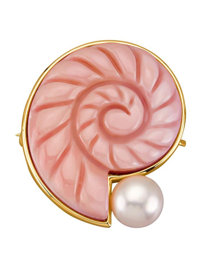 Diemer Perle Broche met roze Conch parel, Roze