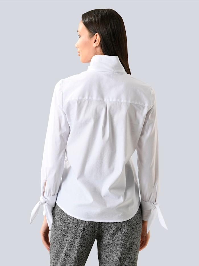 Bluse mit Schluppe und Bändern