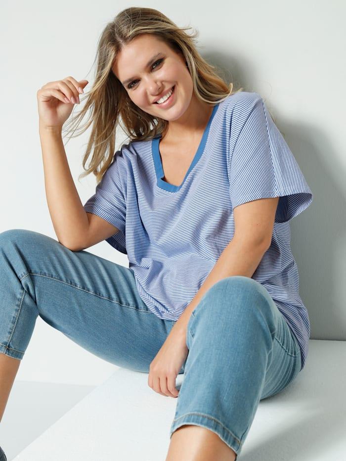 Janet & Joyce Shirt met elastische band aan de zoom, Lichtblauw/Wit