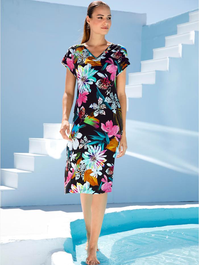 Maritim Strandkleid mit leichter Raffung am Ausschnitt, Schwarz/Pink
