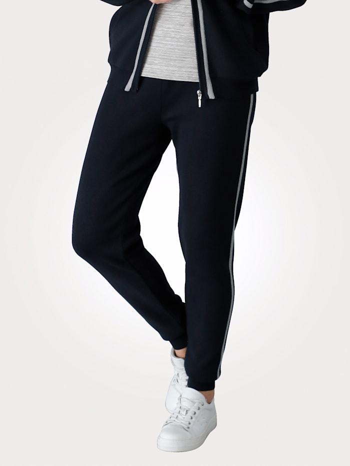 MONA Strickhose mit seitlichem Intarsien Kontraststreifen, Marineblau/Grau