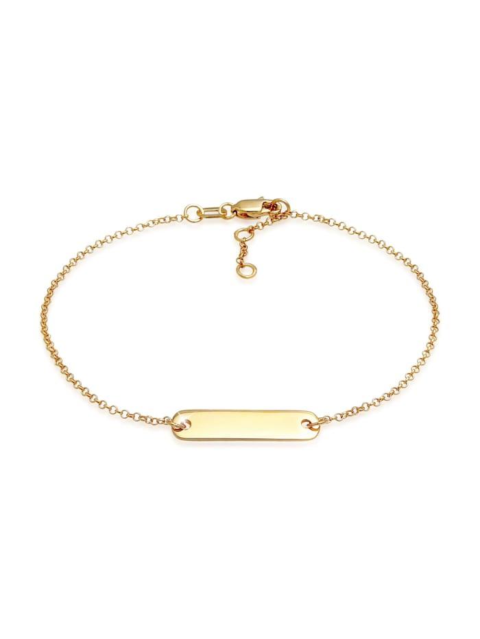 Elli Premium Armband Id-Armband Mit Gravierbarer Platte 375 Gelbgold, Gold