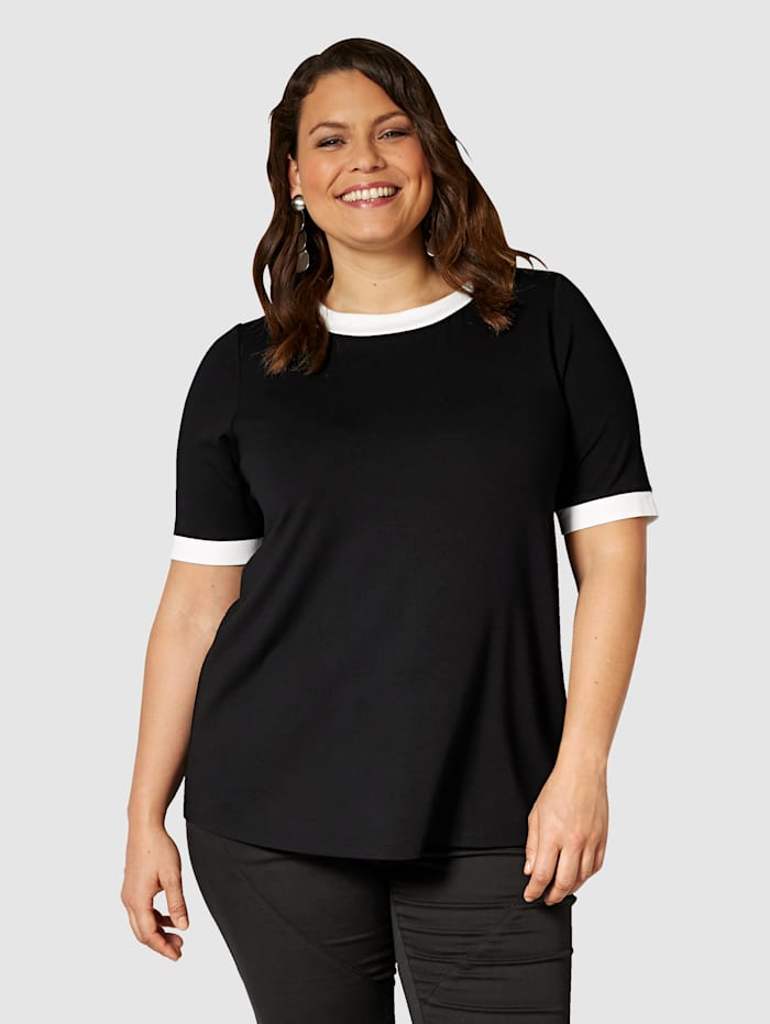Sara Lindholm T-shirt à finitions contrastantes, Noir