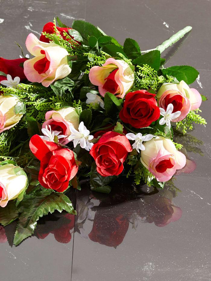 Gravdekoration med rosor, röd