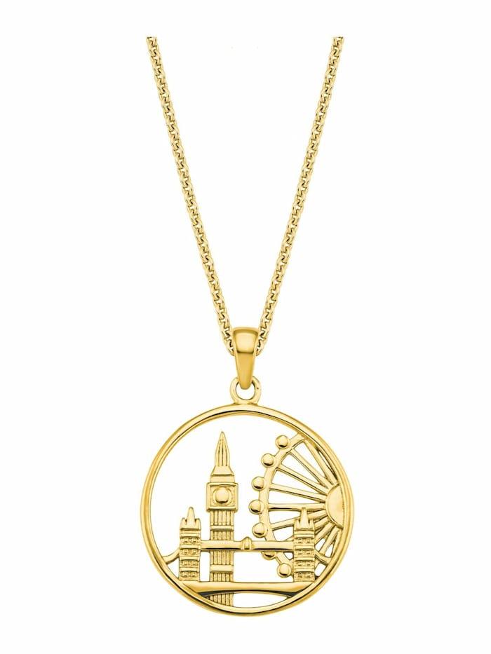amor Kette mit Anhänger für Damen, Sterling Silber 925, London, Gold