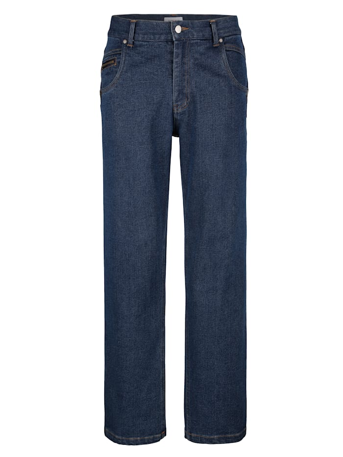 Roger Kent Jean 5 poches avec empiècements d'aspect cuir, Dark blue