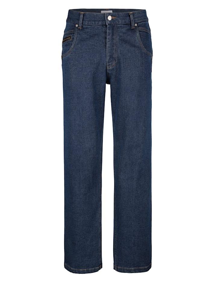 Roger Kent Jeans met inzetten van imitatieleer, Dark blue