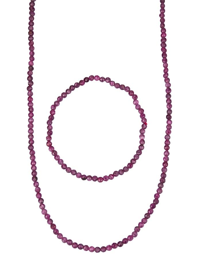 2tlg. Schmuck-Set mit Rubin, Rot