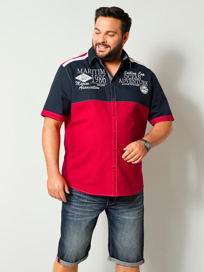 Men Plus Kurzarmhemd mit Kentkragen, Rot/Marineblau/Weiß