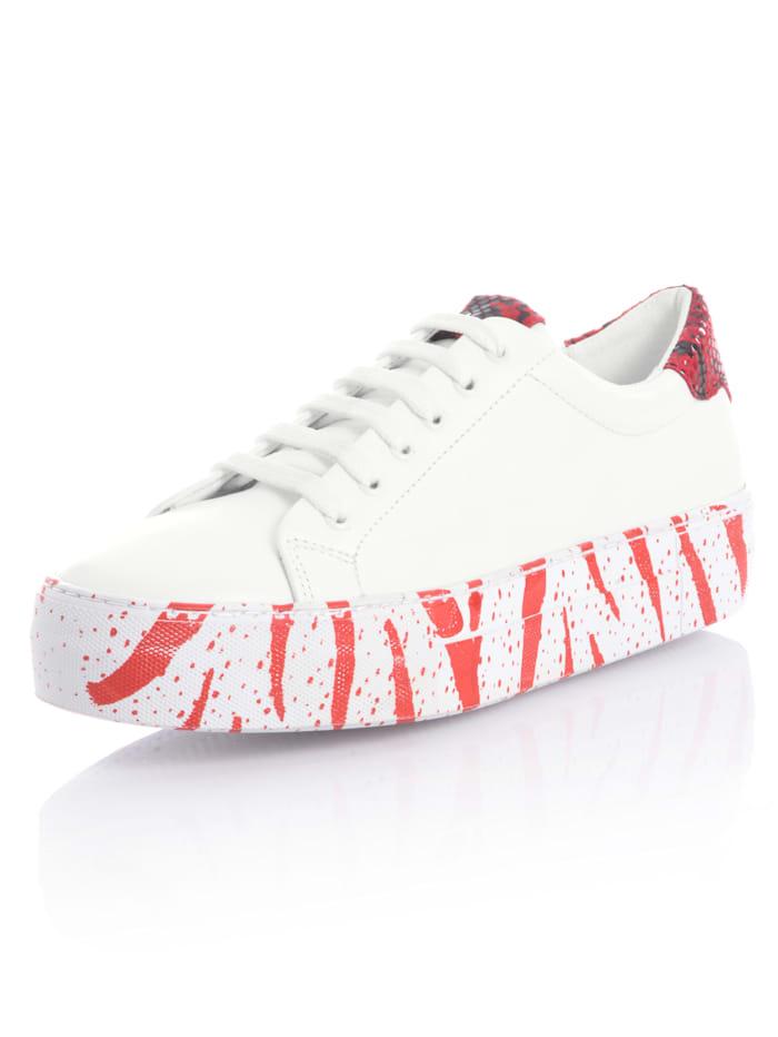 Alba Moda Sneaker mit toller Sohle, Weiß/Rot