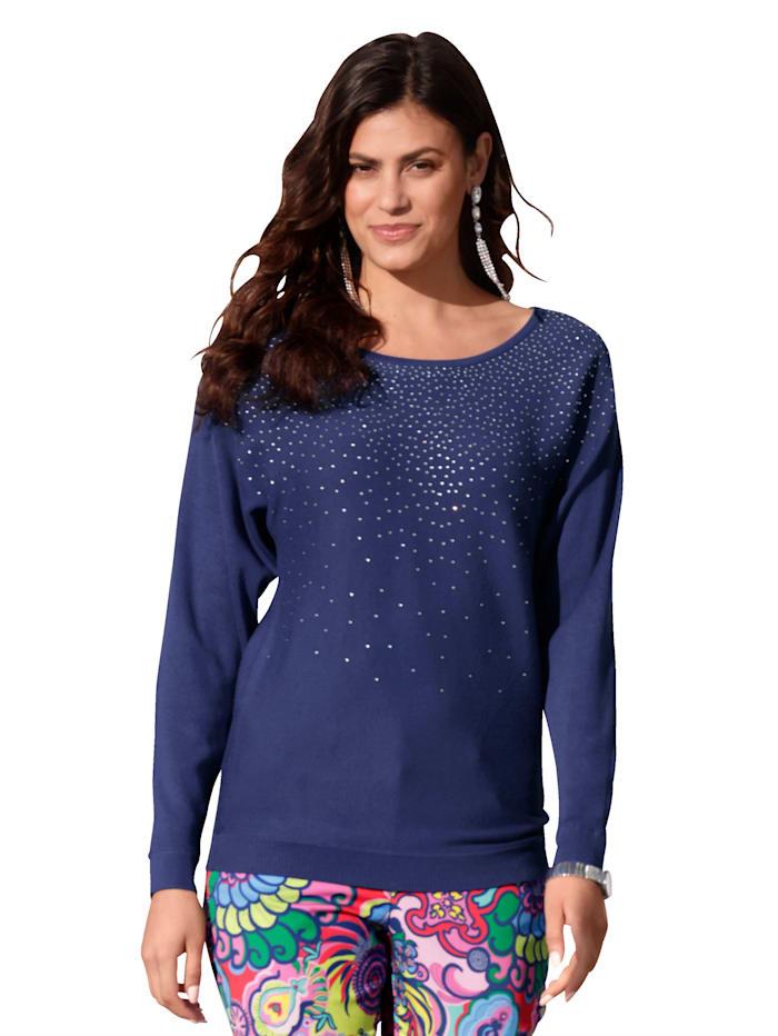 AMY VERMONT Pullover mit Strassstein-Verzierung, Blau