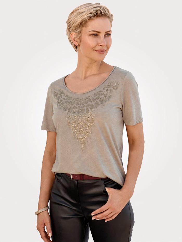 MONA Shirt mit Strasszier, Beige