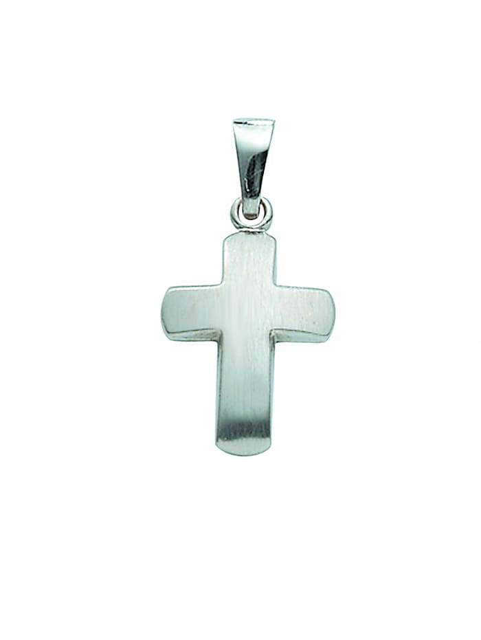 1001 Diamonds Damen & Herren Goldschmuck 585 Weißgold Kreuz Anhänger, silber