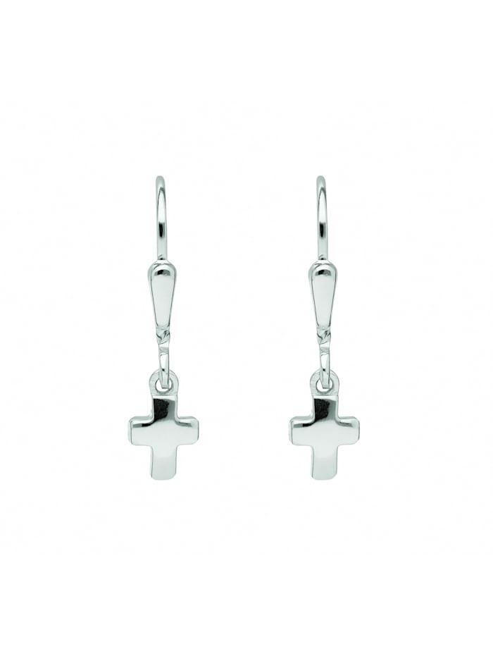 1001 Diamonds Damen & Herren Silberschmuck 925 Silber Ohrringe / Ohrhänger Kreuz, silber