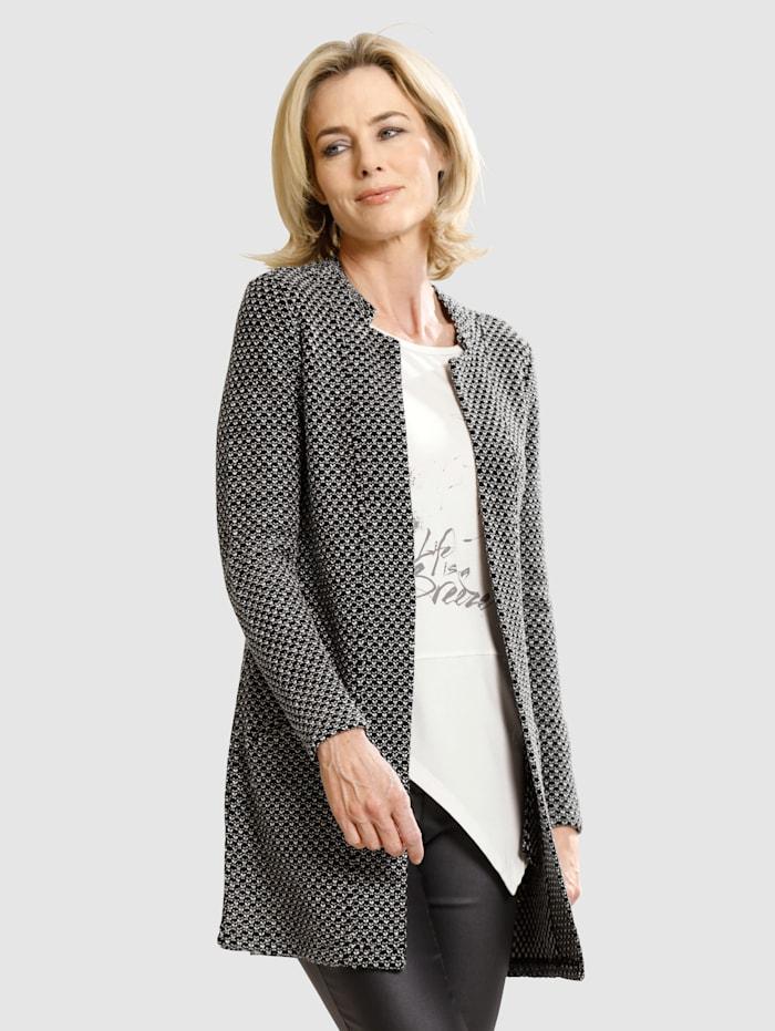 Dress In Cardigan in strukturierter Qualität, Schwarz/Weiß