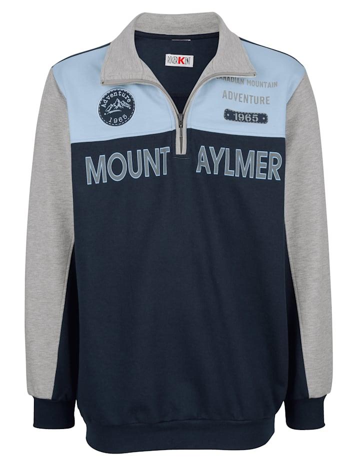 Roger Kent Sweatshirt med trykk og logo, Marine/Grå