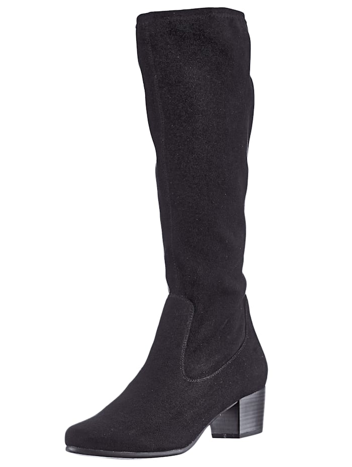 Caprice Knee high boots made from a soft fabric, Black
