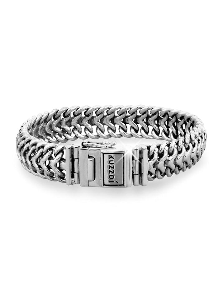 Kuzzoi Armband Herren Panzerarmband Edel Fein 925 Sterling Silber, Silber