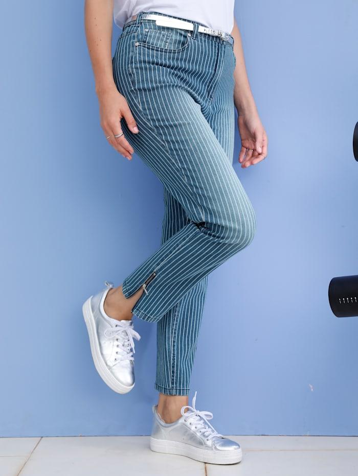 MIAMODA Jeans met mooi streepdessin, Blauw/Wit