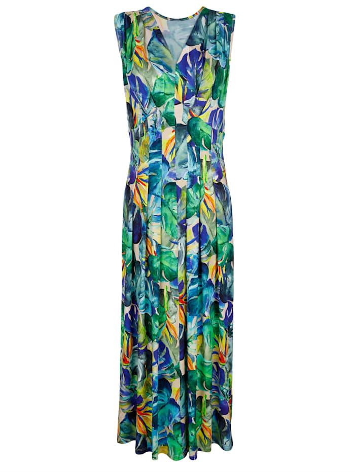 Maritim Strandkleid in attraktivem Sommerdruck, Royalblau/Grün/Gelb