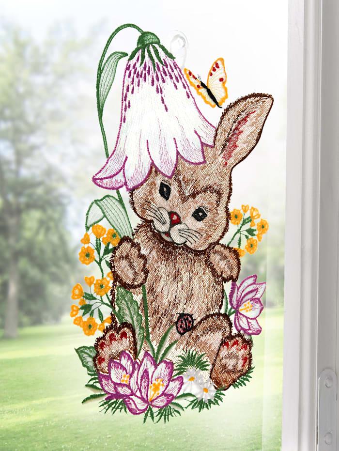 Plauener Spitze Fensterbild, Valerie, bunt