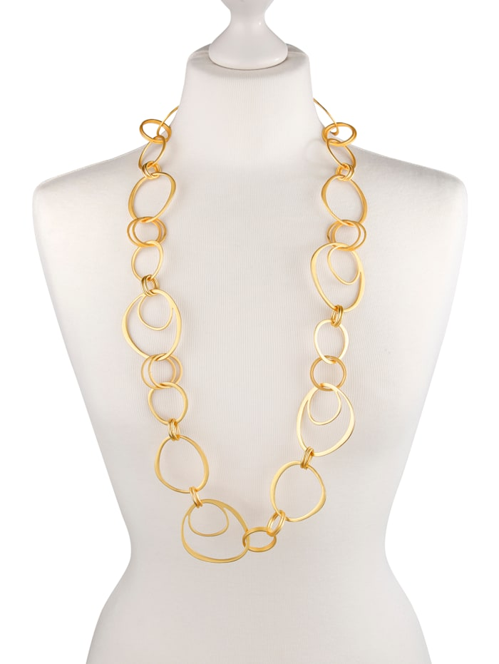 Abstract circle necklace, Yellow gold coloured