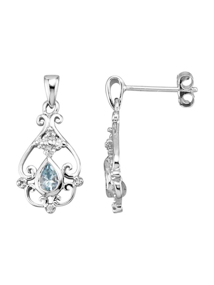 Örhängen med akvamarin och diamanter, Blå