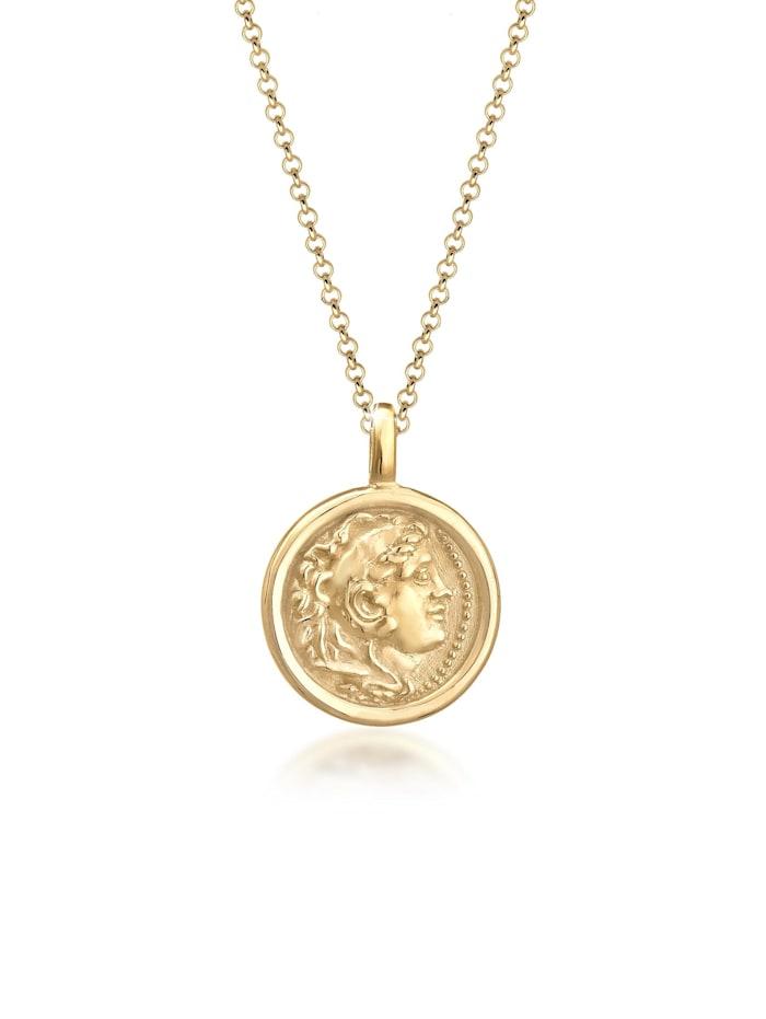 Elli Halskette Münze Plättchen Vintage Antik Trend 925 Silber, Gold