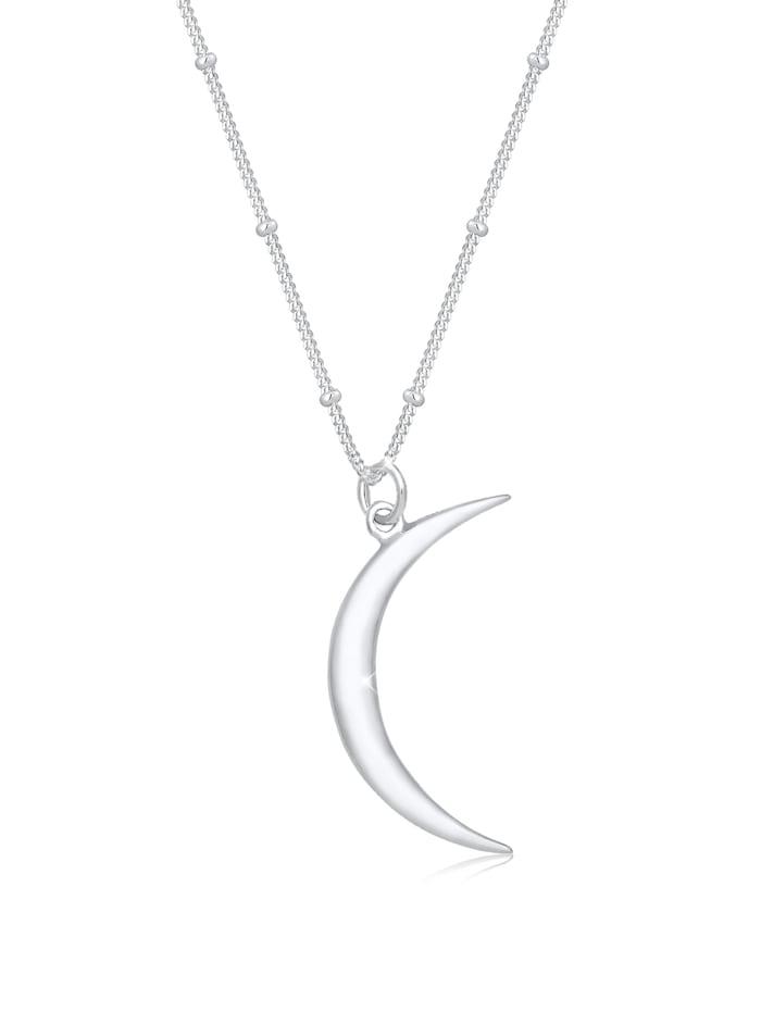 Elli Halskette Kugelkette Halbmond Astro Anhänger 925Er Silber, Silber