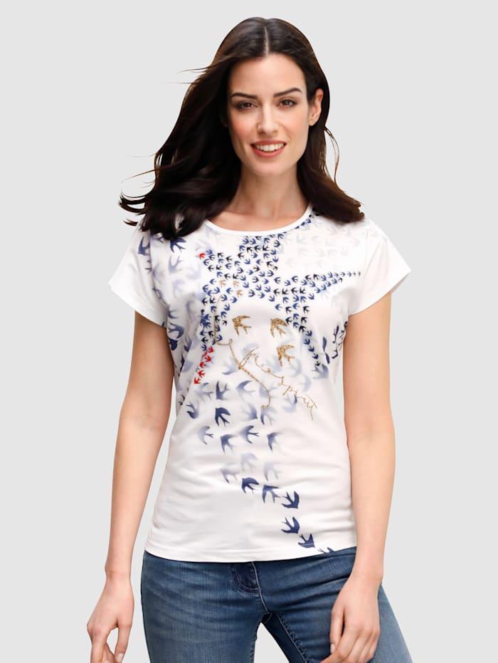 Dress In Shirt met zwaluwprint, Wit