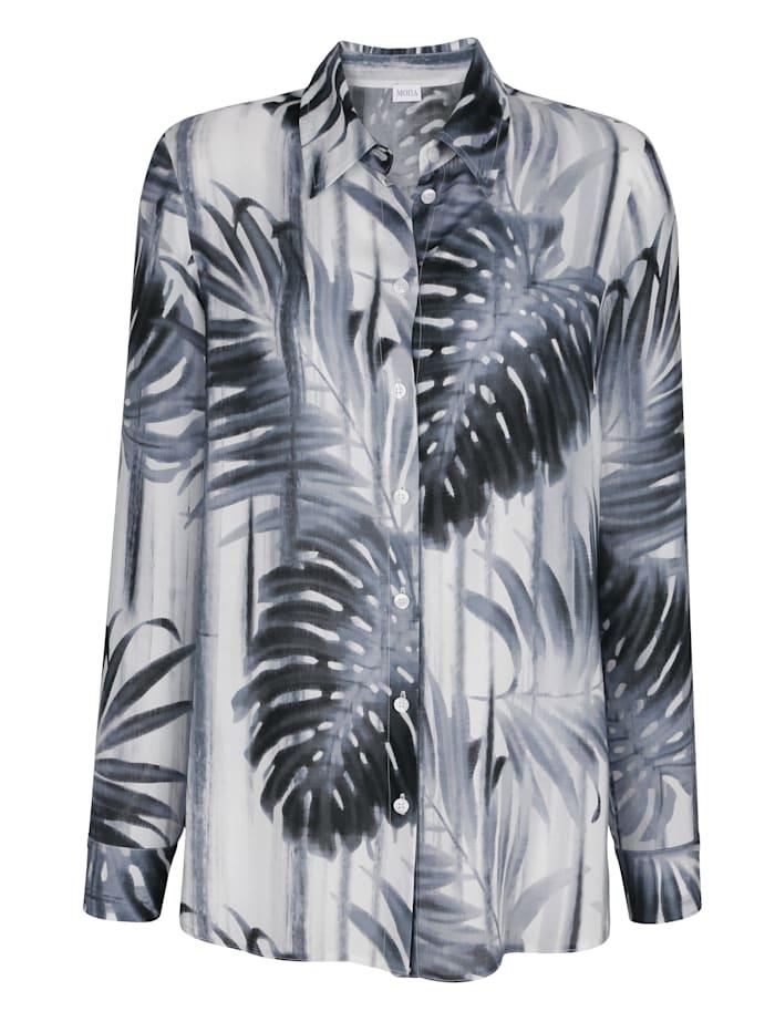 Bluse mit Blätterdruck