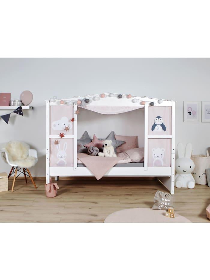 """Ticaa Hausbett mit Bettkasten """"Amelie"""" Kiefer Weiß, Weiß"""