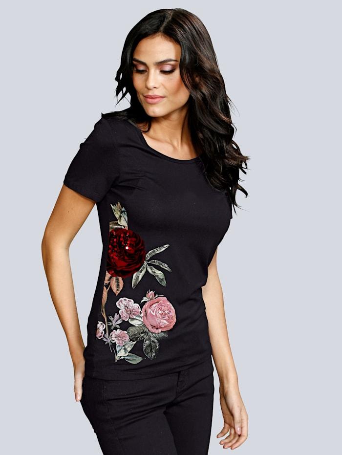 Alba Moda Shirt mit Zierperlen und Flock, Schwarz