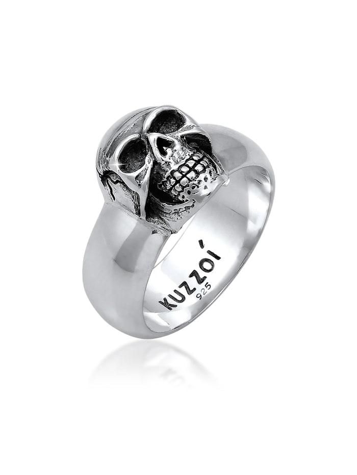 Kuzzoi Ring Herren Siegelring Totenkopf Oxidiert 925Er Silber, Silber