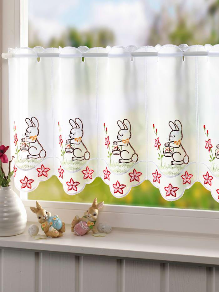Stickereien & Textilien Cafégardin med påskharar, flerfärgad