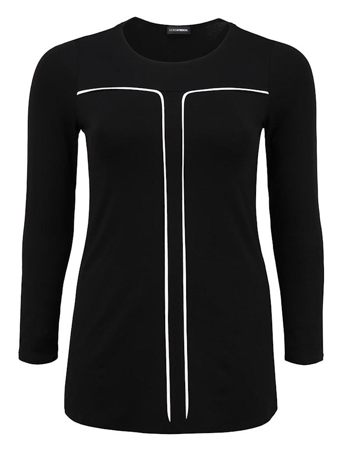 Doris Streich Tunika mit langen Armen, schwarz/weiß