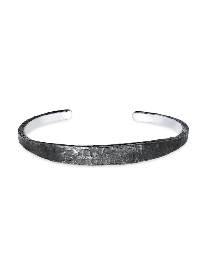 Kuzzoi Armband Herren Armreif Handgefertigt Used Look 925 Silber, Grau