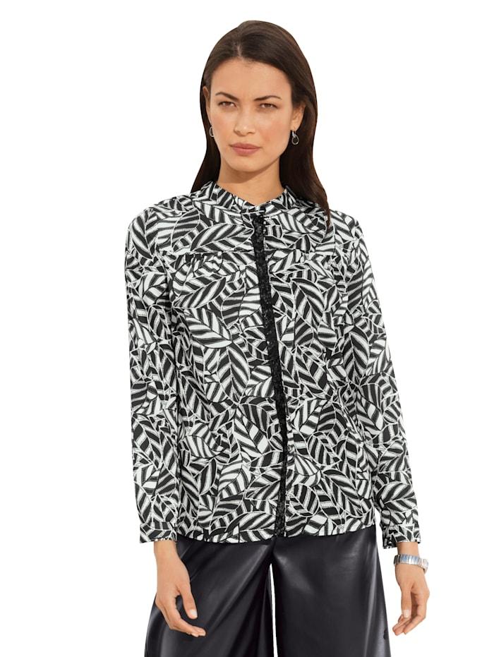 AMY VERMONT Bluse mit grafischem Muster, Weiß/Schwarz