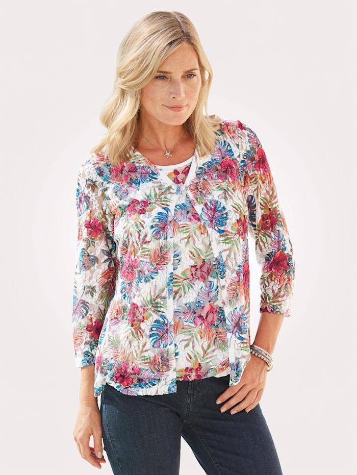 ERFO Shirtjacke aus Mesh-Spitze, Ecru/Multicolor