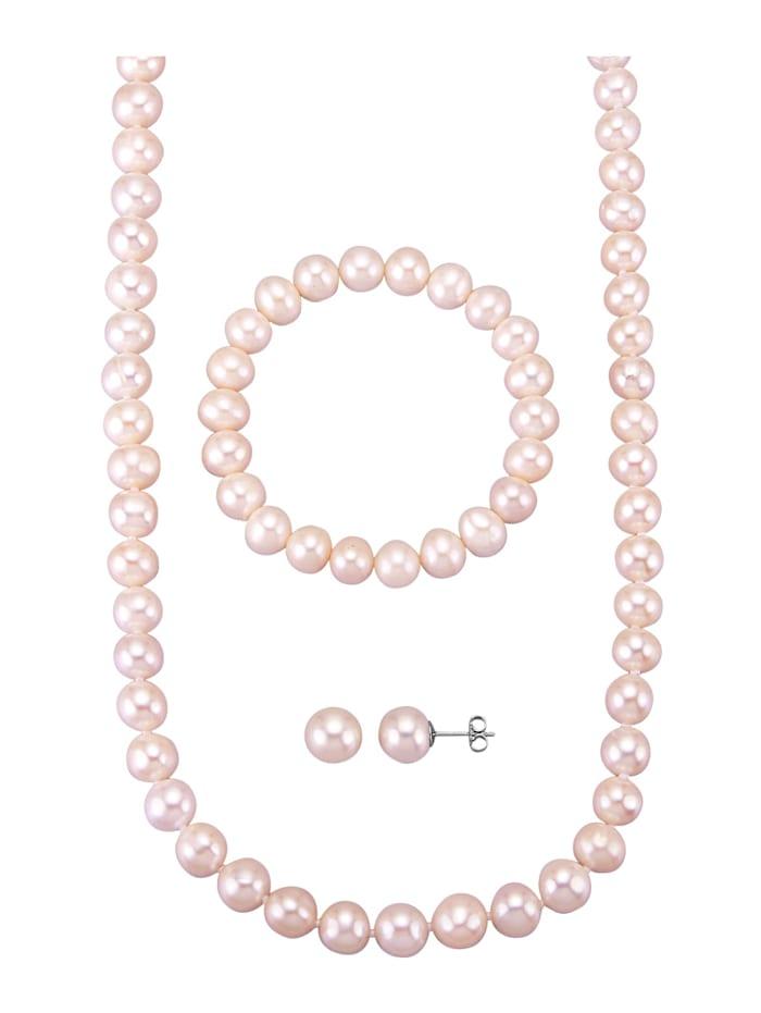 Diemer Perle 3tlg. Schmuck-Set aus weißen Süßwasser-Zuchtperlen, Weiß