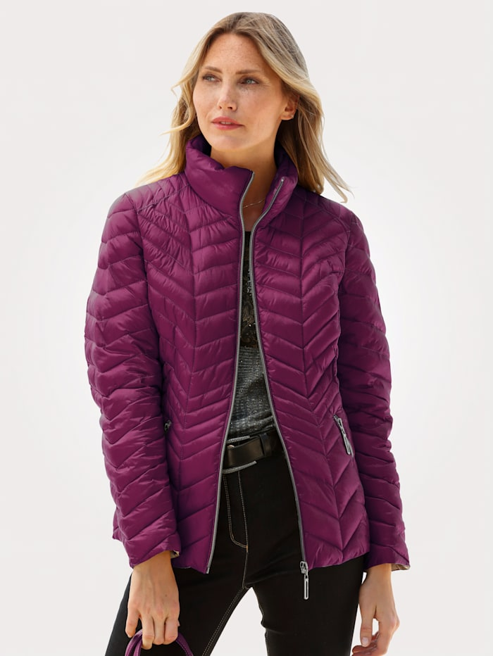 Barbara Lebek Quilted Jacket with a flattering quilted pattern, Berry