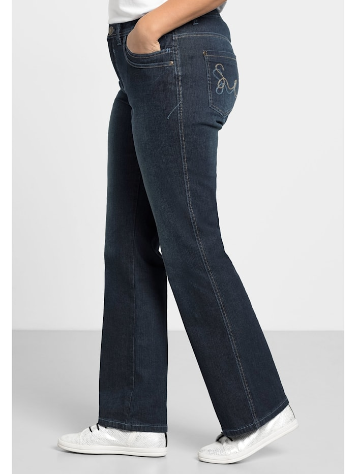 Sheego Jeans MAILA in Bootcut-Form, dark blue Denim
