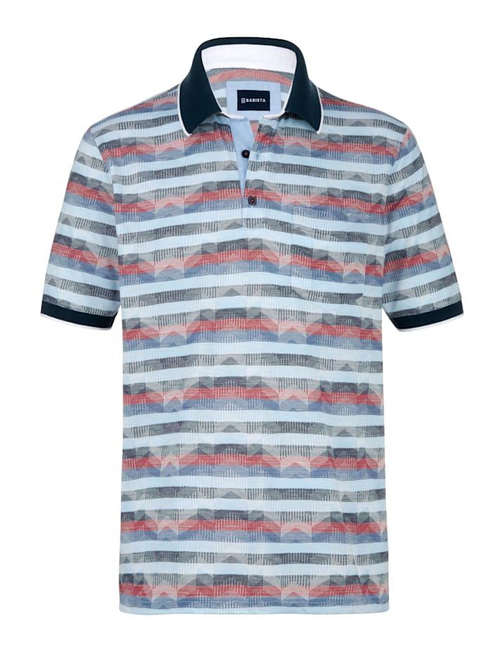 BABISTA Poloshirt mit aufwändigem Jacquard-Muster rundum, Blau/Rot