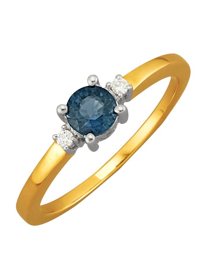 Diemer Farbstein Damenring mit Saphir und Diamanten, Blau
