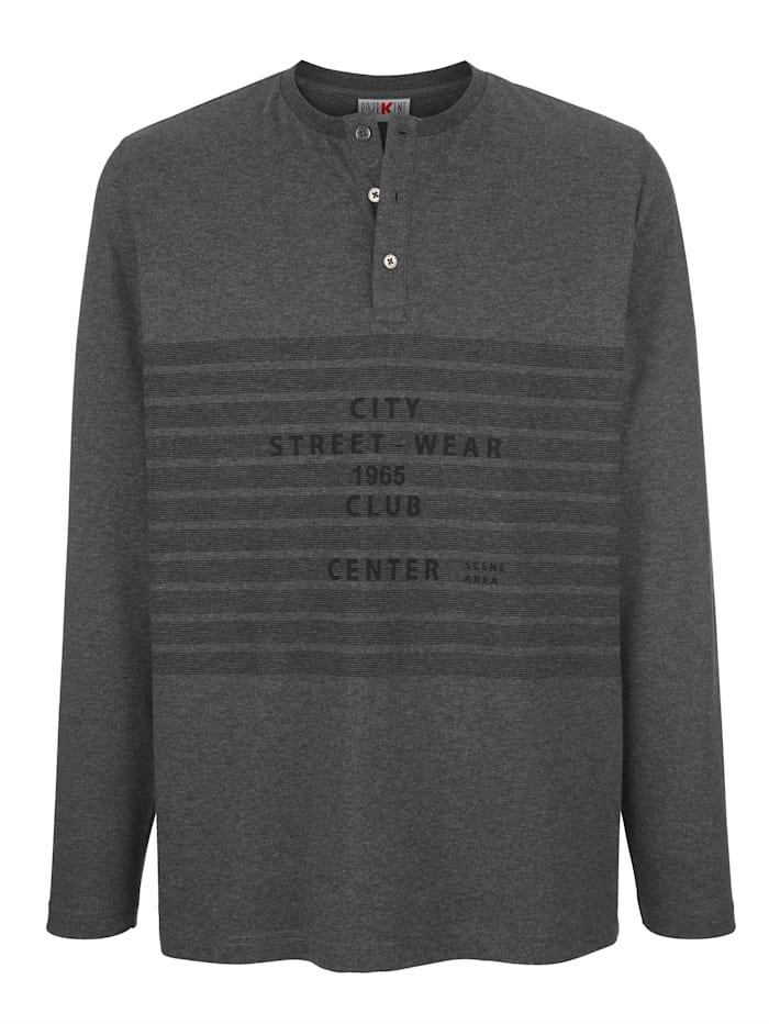 Roger Kent Långärmad tröja med kort knappslå, Antracitgrå