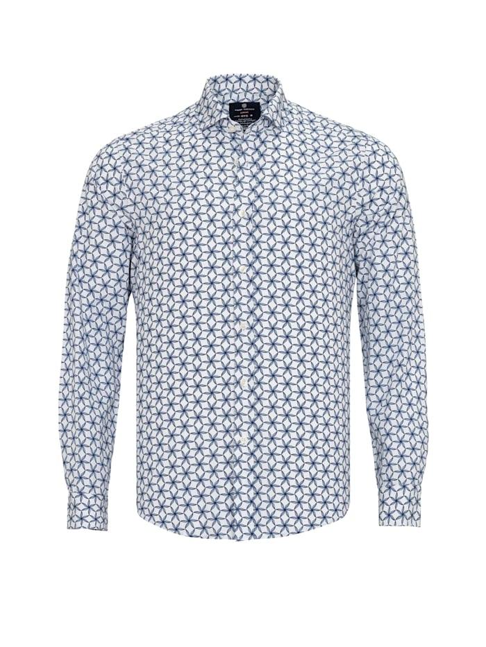 Jimmy Sanders Hemd Fabien mit geometrischem Muster, white