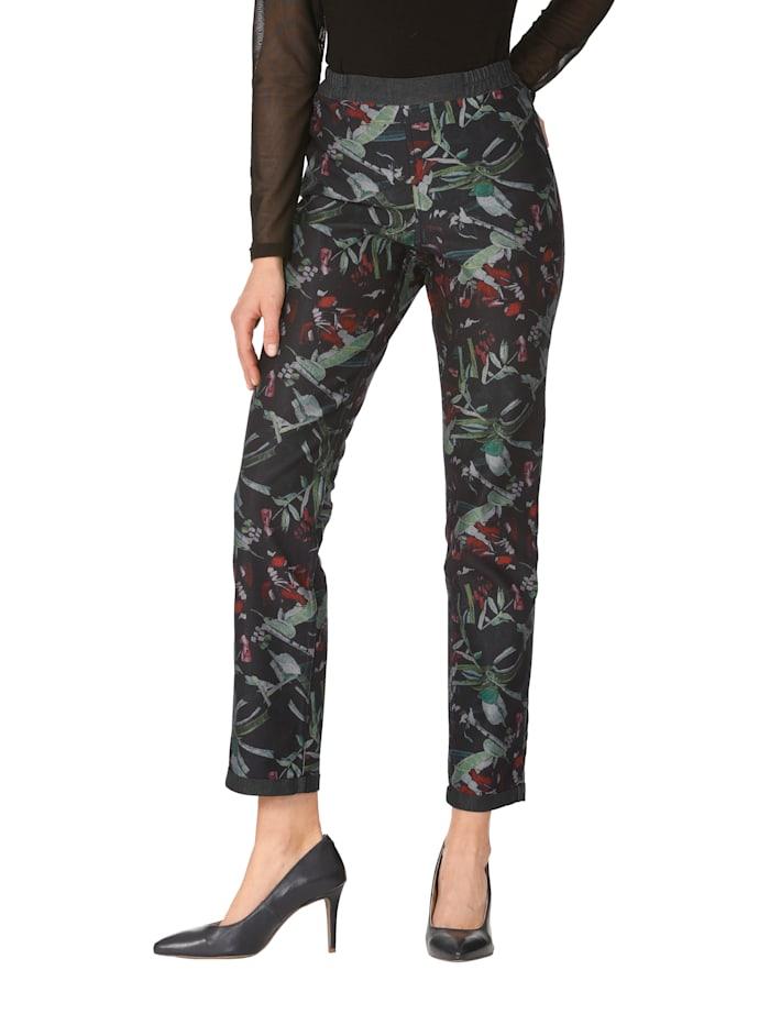 AMY VERMONT Keerbare broek met grafisch patroon, Zwart/Multicolor