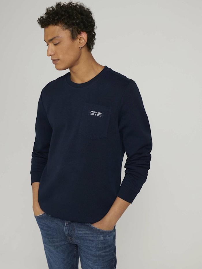 Tom Tailor Denim Sweatshirt mit Brusttasche, Sky Captain Blue