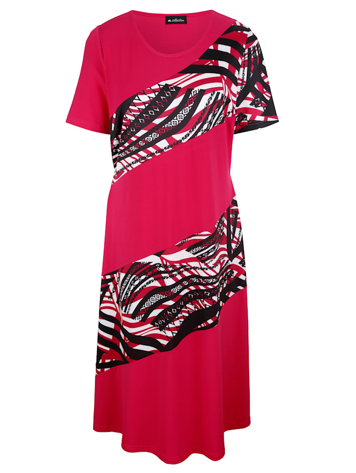 Jersey jurk met gedessineerde inzetten